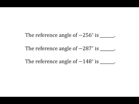 Determine Reference Angles of Angles Between -360 and 0 Degrees