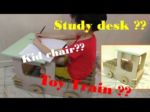 How To Make Cardboard Big train desk  without glue  || make your kids study fun