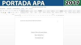 Cómo hacer una portada según norma APA 2017 6ta (sexta) edición