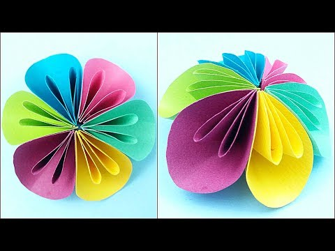Paper flower diy making tutorial. Paper flowers decorations easy for children, for kids