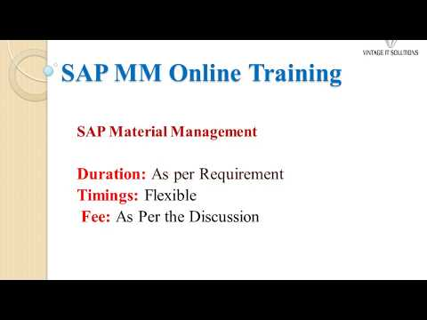 SAP MM Training Video in India