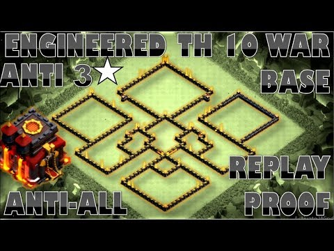 TOWN HALL 10 ANTI 2 STARS WAR BASE | TH10 ENGINEERED BASE | REPLAY PROOF | CLASH OF CLANS