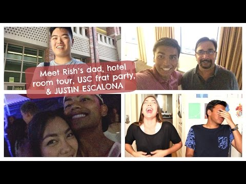 Meet Rish's dad, hotel room tour, USC frat party, & JUSTIN ESCALONA | College Weekly Vlog