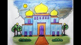 Cara Menggambar Masjid Yang Mudah