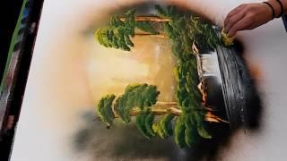 Spray paint art Forest in dreamcatcher