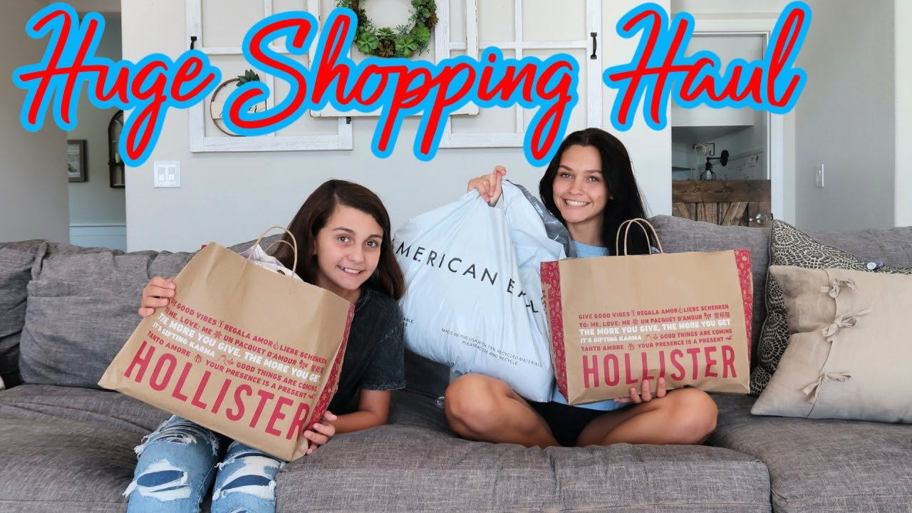 AMERICAN EAGLE & HOLLISTER HUGE SHOPPING FALL HAUL SURPRISE! EMMA AND ELLIE