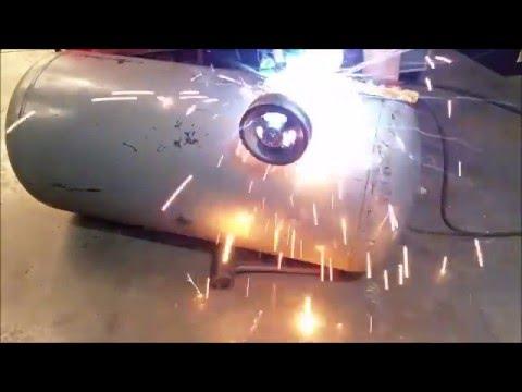 Welding on my DIY air compressor tank homemade air compressor