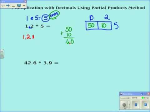 Partial Products with Decimals using estimation