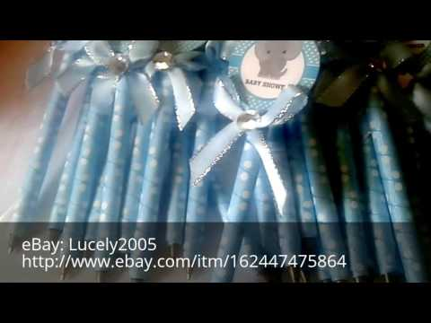 Baby shower ideas party favors handmade decorated pens and paci