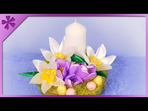 DIY Easter decoration out of wood slice, narcissus out of ribbon (ENG Subtitles) - Speed up #467