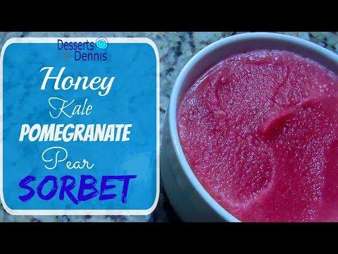 How to Make Homemade Fruit & Kale Sorbet--Honey Kale Pomegranate Pear Sorbet