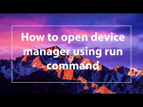 How to open device manager using run command