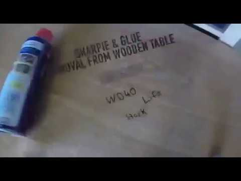 Removing Marker pen & Glue from a table with WD-40