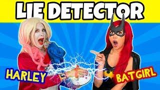 IS HARLEY LYING? LIE DETECTOR TEST HARLEY QUINN VS BATGIRL. (Totally TV Characters)