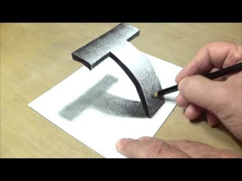 Very Easy - Drawing 3D Letter T - Trick Art with Pencil  - Vamos