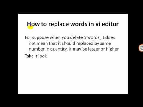 8 replacing words in vi editor