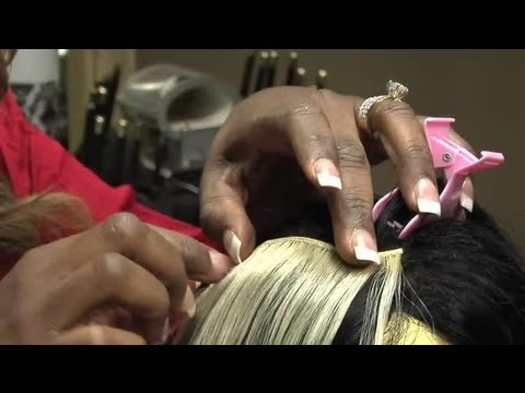 How to Put Glue in Hair Extension Bangs : Hair Extension Tips