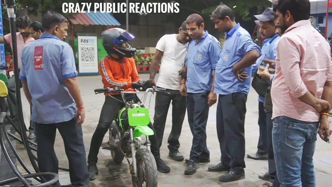 Crazy Public Reactions on Mini Dirt Bike