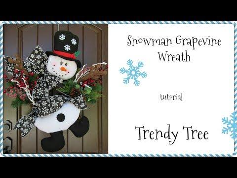2017 Snowman Grapevine Wreath Tutorial by Trendy Tree
