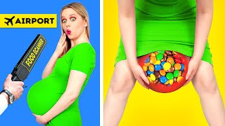 SNEAK SNACKS INTO A PLANE, FASHION SHOW AND SCHOOL || Funny Situations \u0026 Crazy DIY by 123 GO! FOOD