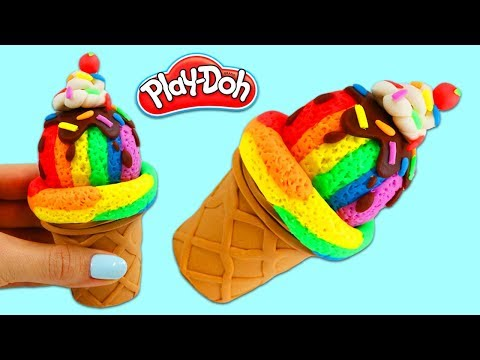 How to Make a Super Satisfying Rainbow Play Doh Ice Cream Scoop!