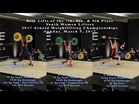 2017 Arnold, 7th, 8th, & 9th Place Youth Women Lifters, Sunday, March 5, 2017