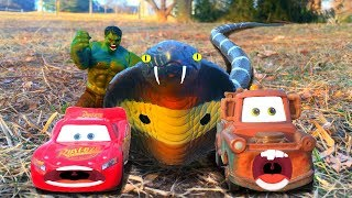 Disney Cars Lightning McQueen and Mater GIANT SNAKE Attack, Saved by RAMPAGE HULK, Kids Toys Movie