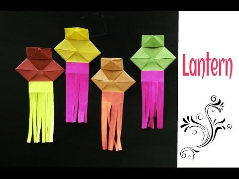 Origami Paper- Simple Lantern 🏮 (Diwali /Christmas /Eid decoration ) - Very easy to make !!