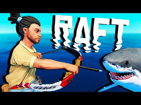 BOW and ARROW vs SHARK! - Raft Gameplay