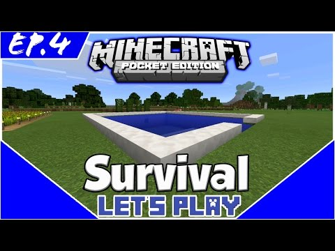 Survival Let's Play EP.4 -POOL AND DIAMONDS! -Minecraft PE(Pocket Edition)