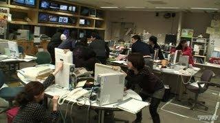 地震発生時 福島テレビ報道フロア