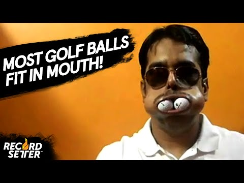 World Record: Most Golf Balls Fit In Mouth!