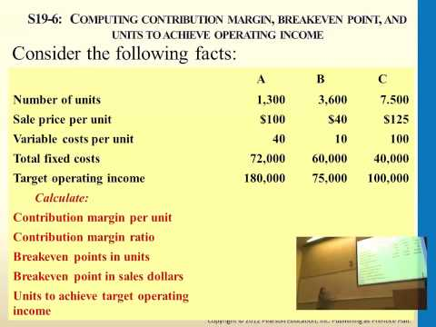 Computing Contribution Margin, Breakeven Point, and units to achieve operating income