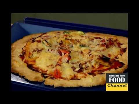 Pizza With Bell Peppers, Zucchini And Red Onion.