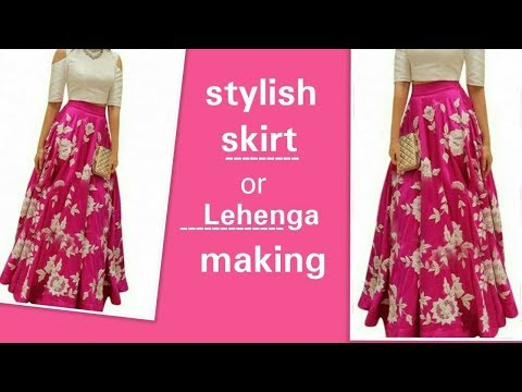 Lehnga or long skirt cutting and stitching  in hindi ||  latest fashionable lehnga making