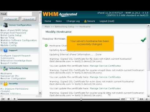 How to modify your WHM server's hostname - WHM Setup Tutorials