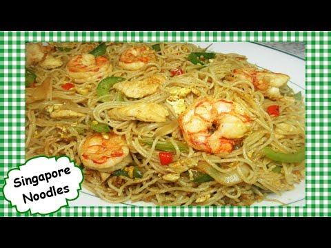 Singapore Fried Noodles Recipe ~ Easy Singapore Shrimp Chicken Stir Fry