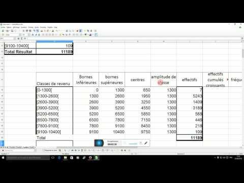 7- Tableau distribution quantitative continue sous CALC