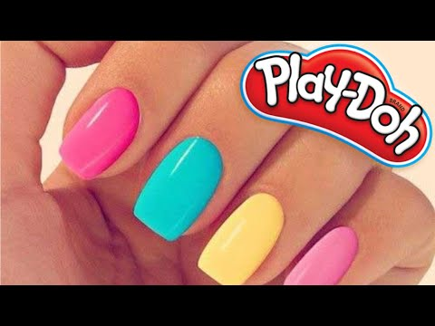 DIY HOW TO MAKE PLAY DOH NAILS - PRETTY COOL!