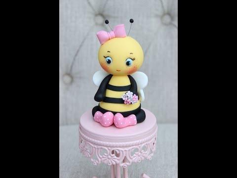 Fondant baby shower bee