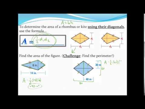 Calculating the area and perimeter of kites and rhombuses