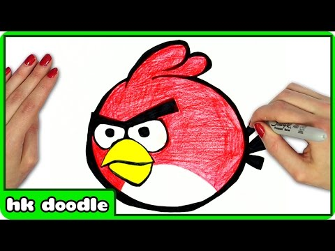 How To Draw ANGRY BIRDS - Easy Red Angry Bird Step by Step Drawing Tutorial by HooplaKidz Doodle