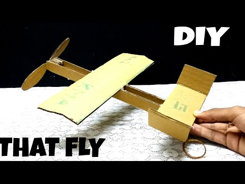 How to make rubber band plane out of cardboard | DIY | HOW TO  | THAT FLY | KMA INSANE HACKER