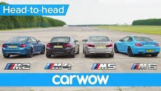 BMW M5 v M4 v M2 v M6 DRAG & ROLLING RACE | Head-to-Head