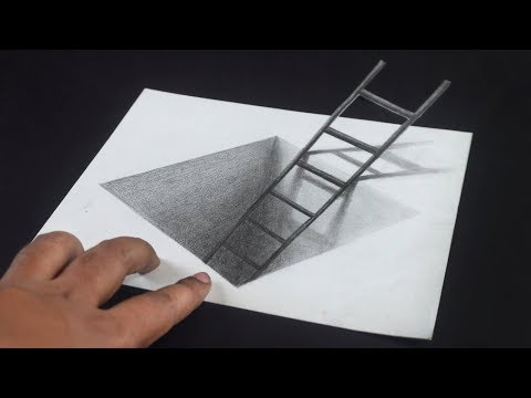 Ladder in the Hole 3D Trick Art Drawing on Paper
