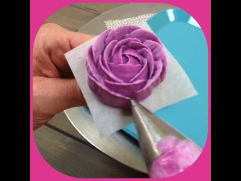 In The Kitchen with The White Flower Cake Shoppe-Purple Buttercream open rose
