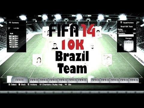 FIFA 14 Ultimate Team Squad Builder - 10K Brazil Team