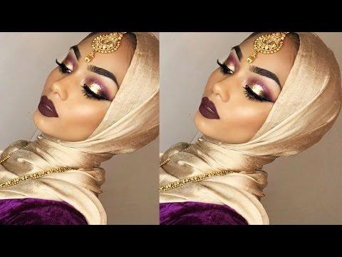 Purple eyeshadow with gold glitter + bold lips | Sabina Hannan