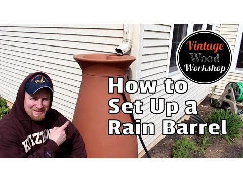 How to Setup a Rain Barrel and Secure Spouting Drainage Pipes//DIY//How to