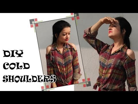 DIY Cold Shoulder Shirt - How to make different type of Cold Shoulder cut outs
